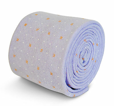 Frederick Thomas lilac tie with orange and white spots in 100% cotton FT3193