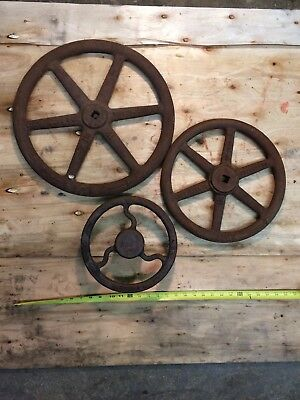 Hand Wheel, lot of 3, From Industrial Water Valves, Cast Iron Art Decor