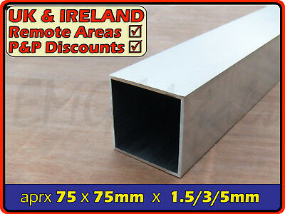 Aluminium Square Tube (box section,profile,pipe,tubing,alloy,post) | 76mm ⫽ 75mm