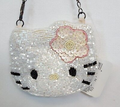 Vintage 1998 Sanrio HELLO KITTY Beaded Sequin COIN PURSE Pink Flower NEW w TAG