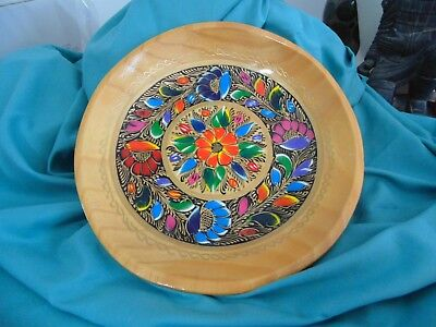 Mexican Colorful Vintage Hand Painted Flowers Wooden Bowl with Gold Trim