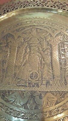 Antique ISLAMIC/PERSIAN Hand Made Brass Serving Tray Platter 19 in Engraved Pic