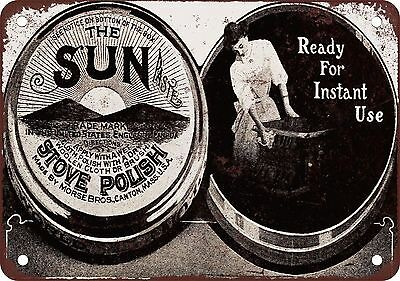 "7"" x 10"" Metal Sign - 1908 Sun Paste Stove Polish - Vintage Look Reproduction"