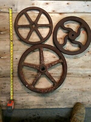 Hand Wheel, lot of 3, From Industrial Water Valves, Cast Iron, Art/Decor