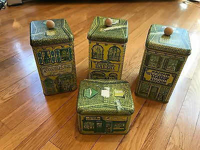 CHEINCO Vintage 1979 Tin Canisters Set of 4 Cookie Sugar Flour House