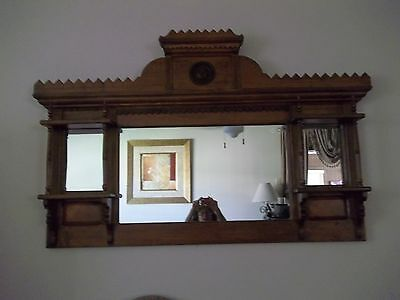 Antique Wooden Mantle Mirror W/shelves-Beautiful Hand Carved Ornate