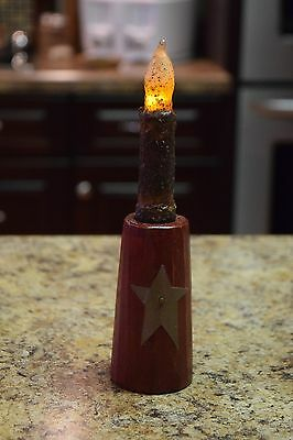 "Handmade Primitive Wood Candle holder 4"" tall with a 4"" timer candle"