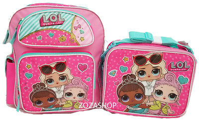 "L.O.L Small Backpack 12"" & Lunch bag 2 pc set Pink School Bag Girls LOL"