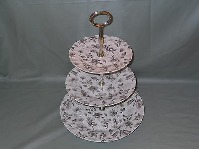 "RHS ""The Garden"" Sepia 3-Tier Hostess Cake Plate Stand Queens China by Churchill"