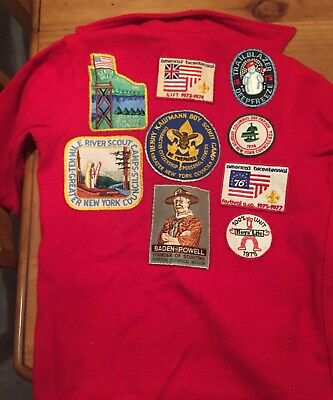 Vintage BSA Official Boy Scout Uniform Red Patch Jacket 552 Size 16 with Patches