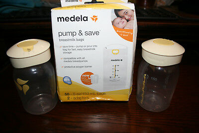 Medela Pump and Save Breastmilk Bags 50 Count w/Two Labeling Lid Storage Bottles