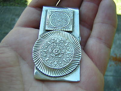 Large Vintage Heavy Duty Sterling Silver Taxco Mexican Calendar Bill Money Clip