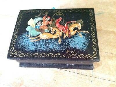 Signed Russian Lacquer Small Hinged Box Fairy Tale With  Horses USSR