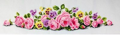 "NEW Cross stitch finished completed""Flowers""home decor gift free shipping"