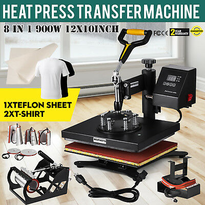 US STOCK 12x10 8 in1 Transfer Sublimation Mug Hat Plate Cap Heat Press Machine