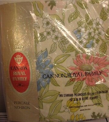 NEW! vtg PAIR of PILLOWCASES standard Cannon Cotswolds Floral 60s 70s mod retro