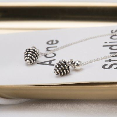 S925 Sterling Silver Long Stud Earrings With Pinecone Shape Pendant For WomXZ