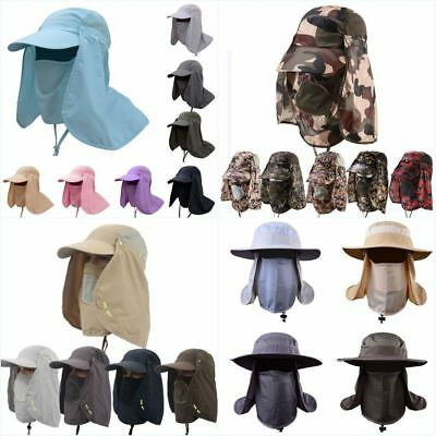 Unisex Outdoor UV Protection 360° Face Neck Flap Sun Cap Hiking Fishing Hat AU