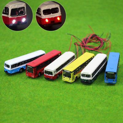 4PC 1:150 Model Lighted Cars Bus With 12V LED Lights for Building Layout Diecast