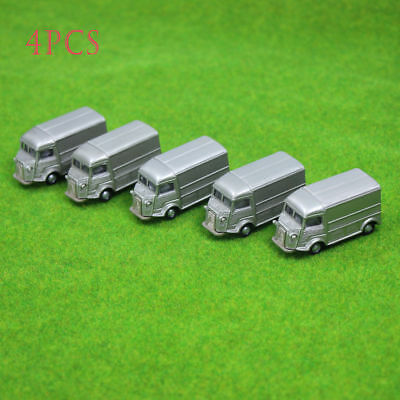 4PCS Gray Business Cars Model 1:100 TT HO Scale for Building Model Train Layout