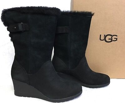 4149ddbddf3 UGG AUSTRALIA EDELINA Boots Black Waterproof Wedge Boots Womens sizes  1017422