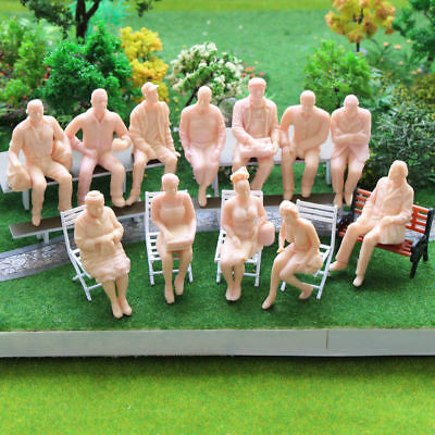 P2510 12pcs G scale Figures 1:25 All Seated Unpainted People Model Train Railway