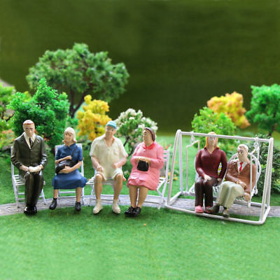 P2511 6pcs G scale Figures 1:22.5-1:25 All Seated  Painted People Model Railway