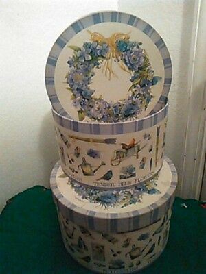 Set Of Two Beautiful Blue Floral Hat Boxes