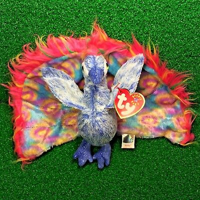 567cc117fc4 Ty Beanie Baby Flashy The Peacock Bird MWMT Retired 2000 Plush Toy Free  Shipping