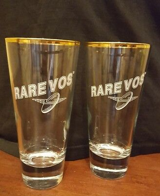 2 Ommegang Brewery Gold Rim Rare Vos Belgian Ale Beer Glass Cooperstown NY Lot