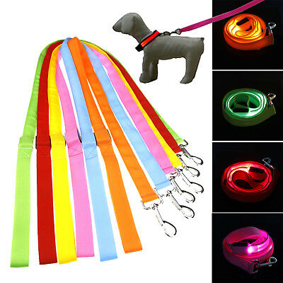 120cm LED Strong Nylon Dog Pet Lead Leash with Clip For Collar Harness New ST