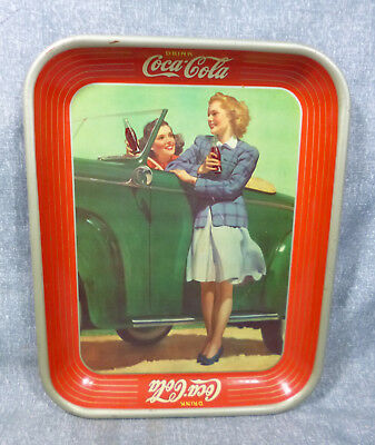 """1942 Original Coca Cola """"Two Girls with Car"""" Tin Serving Tray"""