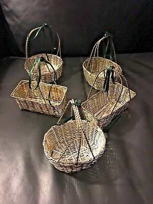 Vintage Set 5 Silver Plated Woven Metal Wire Oval Shaped Basket Small Ornament
