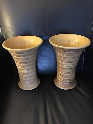 Old Vintage PAIR Red Wing Art Pottery Large  Early Ribbed Vases Museum Quality