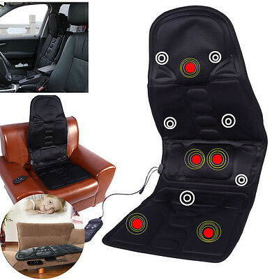 Heated Back Massage Seat Cushion Car Seat Chair Massager Lumbar Neck Pad Heater@