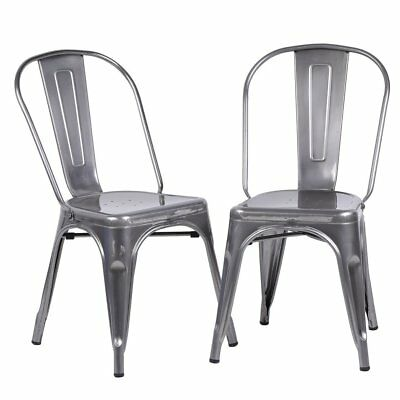 2 X TOLIX Steel Metal Industrial Dining Chair Stackable Seat Bistro Cafe Kitchen