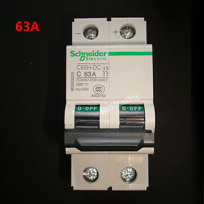 2P 250V Miniature C65H-DC 63A Air Switch / Circuit Breaker for Solar Application
