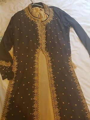 asian wedding pakistan india dress and jacket outfit size56 dark grey/dark green