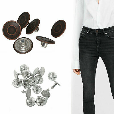 20mm Hammer On Jeans Buttons Metal Repair Replacement Jacket Trousers 10, 20, 50