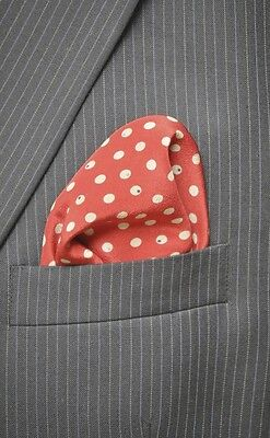 100% Silk Mens Maroon Gray Polka Dot Handkerchief Pocket Square Hand Rolled 14""