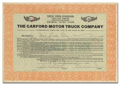Garford Motor Truck Company Stock Certificate (Superior Body, Elyria, Ohio)