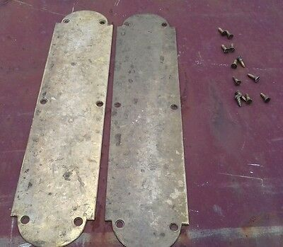 pair of vintage solid brass finger plates push plates