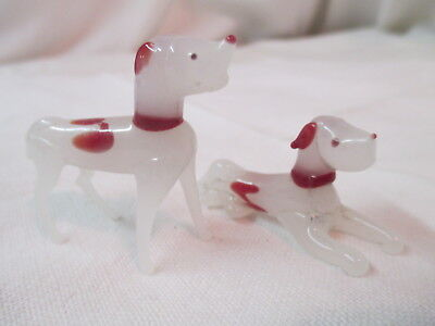 Vintage Japan 2 hand blown glass miniature Hound Dogs Rust red & white