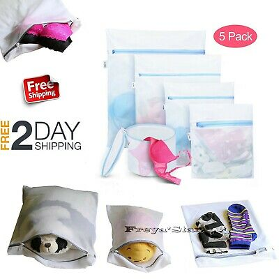 5x Laundry Mesh Zipper Wash Bag Nylon Net Clothes Underwear Bra Socks Three Size