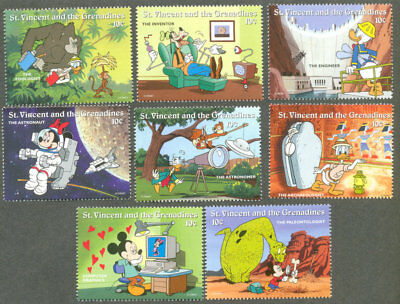 Disney-Science Characters mnh set of 9-Cartoons-Animation-StVincent & Gren