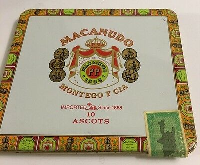 CIGAR TINS LOT OF 4 MACANUDO Metal Hinged Lid Vintage w/ DOMINICAN TAX STAMP