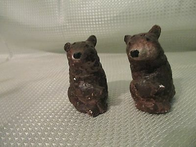 antique chalkware bear salt and pepper shakers