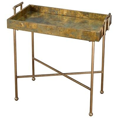 Modern Contemporary Oxidixed Copper Metal Gold Iron Couper Tray Accent Table