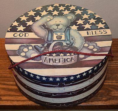 VTG 1990's Hat Box Teddy Bear Lindy Bowman Co. God Bless America Laurie Korsgade