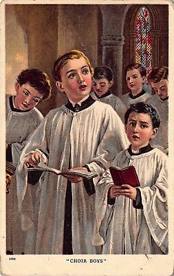 Vtg POSTCARD CHURCH CHOIR BOYS SINGING Stained Glass Window Antique Christian